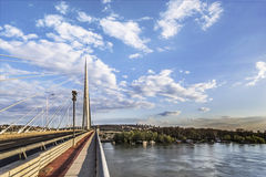 Panoramic View of Belgrade's Bridge Over Ada. Suspension Bridge Over Ada, connecting right Sava river bank, the old Belgrade, with the left river bank and New Stock Image
