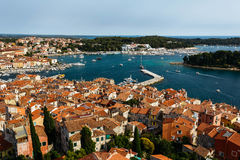 The panoramic view from the bell tower Church of St. Euphemia on the old town of Rovinj, Croatia. Royalty Free Stock Photo