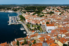 The panoramic view from the bell tower Church of St. Euphemia on the old town of Rovinj, Croatia Stock Photo