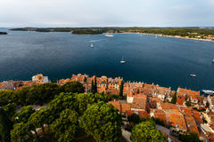 The panoramic view from the bell tower Church of St. Euphemia in the old town of Rovinj, Croatia Royalty Free Stock Photo