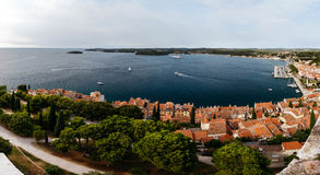 The panoramic view from the bell tower Church of St. Euphemia in the old town of Rovinj, Croatia Royalty Free Stock Photography