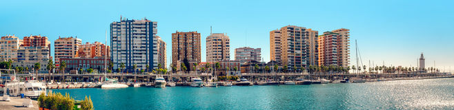 Panoramic view of Benalmadena harbor Royalty Free Stock Photography