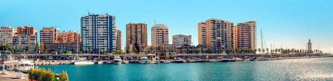 Panoramic view of Benalmadena harbor royalty free stock photography
