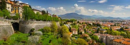 Panoramic view of Bergamo, Italy royalty free stock photo