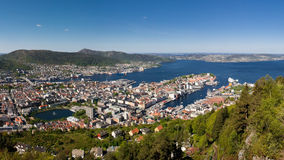 Panoramic View of Bergen, Norway Stock Images