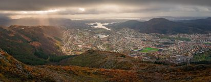 Panorama of Bergen town seen from above royalty free stock photography