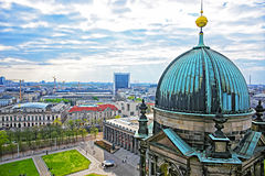 Panoramic view from Berlin Cathedral to Museum Island. In Berlin in Germany. It is placed in the Mitte borough royalty free stock image