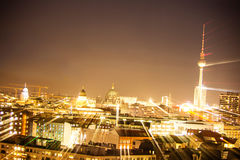 Berlin tv tower lightpainting Stock Photography