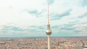Berlin, Germany - March 28, 2019. Panoramic view of Berlin with TV tower, one of the city symbols. Clouds move fast. Panoramic view of Berlin with TV tower, one stock footage