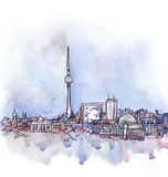 The panoramic view of Berlin  watercolor Royalty Free Stock Photography