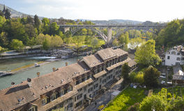 Panoramic view of Bern and railway, Switzerland, Europe. Beautiful panoramic view taken from Bern capital. Bridge over the river Aare railway, rooftops, houses stock photography