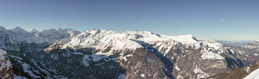 Panoramic View of the Bernese Alps, Grindelwald, Switzerland. Royalty Free Stock Images