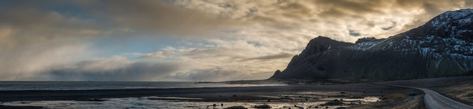 Panoramic View of Berufjord, on East Coast of Iceland. Stock Photos