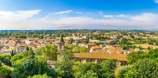 Panoramic view at the Beziers city with St.Jude church in France Stock Image