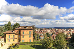 Panoramic view of Biella from the Piazzo: the old part of the city. Stock Photos