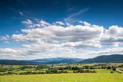 Panoramic view of Bieszczady mountains, Poland Royalty Free Stock Photo