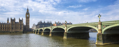 Panoramic view of Big Ben and bridge Stock Image