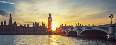 Panoramic view of Big Ben at sunset. Famous Big Ben clock tower in London at sunset, panoramic view, UK Royalty Free Stock Photography