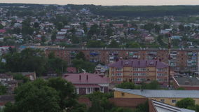 Panoramic View Big City with Nice Houses in Evening stock video footage