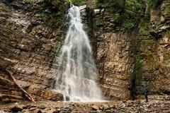 Panoramic view of big waterfall Stock Image