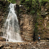 Panoramic view of big waterfall Stock Photos