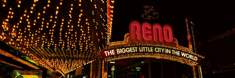 Panoramic view of Biggest Little City in America, Reno Nevada neon lights and casinos Stock Photography