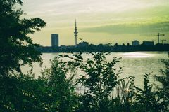 Panoramic View of the Binnenalster in Hamburg nature leafs sun retro vintage stock photography