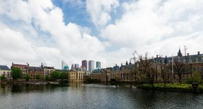 The Hague, Den Haag, Netherlands. Panoramic view of Binnenhof parliament  with modern skyscrapers,  the Hague, Den Haag, Netherlands Stock Photos