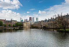 The Hague, Den Haag, Netherlands. Panoramic view of Binnenhof parliament with modern skyscrapers, the Hague, Den Haag, Netherlands Royalty Free Stock Image