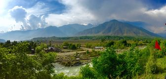 Panoramic view from Biodiversity Park in Kangan. Kashmir India Stock Image