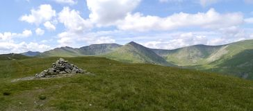 Panoramic view from Birkhouse Moor to Helvellyn Royalty Free Stock Photos