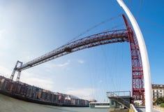 Panoramic view of the Biscay Bridge Stock Photo