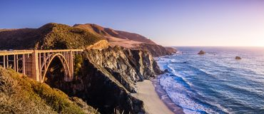 Panoramic view of Bixby Creek Bridge and the dramatic Pacific Ocean coastline, Big Sur, California stock photos