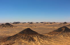 Panoramic view of the Black Desert Mountains close to Bahariya Oasis, Egypt Royalty Free Stock Images