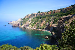 The panoramic view of Black Sea. The panoramic view of Fiolent cape in Black Sea, Ukraine Royalty Free Stock Image