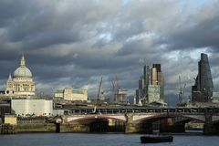 Panoramic view with Blackfriars bridge over Thames river in uk stock photos