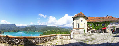 Panoramic view of Bled Castle above the lake Bled, Slovenia Stock Photo