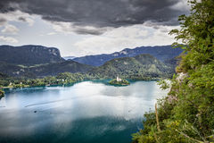 Panoramic view from Bled Castle, Slovenia. Royalty Free Stock Photos