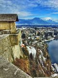 Panoramic View of Bled Lake royalty free stock photography