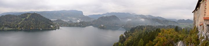 Panoramic view of Bled Lake from Bled Castle in Slovenia Stock Photography