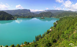 Panoramic view of Bled Lake Stock Photography