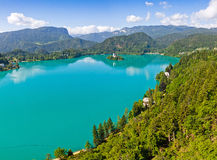 Panoramic view of Bled Lake, Slovenia Stock Image