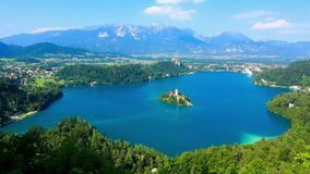 Panoramic view of Bled Lake, Slovenia stock footage
