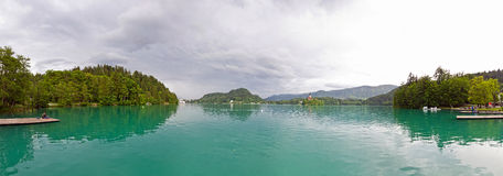 Panoramic view of Bled Lake in spring, Slovenia Stock Images