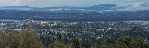 Panoramic View of Blue Hour Oregon Washington States Stock Images