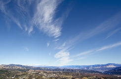 Panoramic view of blue sky, white clouds Royalty Free Stock Photo