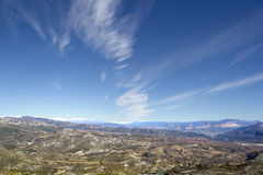 Panoramic view of blue sky, white clouds Royalty Free Stock Images