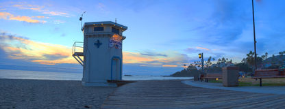 Panoramic view of the boardwalk at Main beach royalty free stock photo