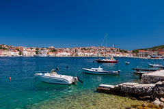 Panoramic view of boats in Mali Losinj  bay. Croatia Stock Images