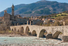 Panoramic view of Bobbio, ancient town in the north of Italy Royalty Free Stock Photo